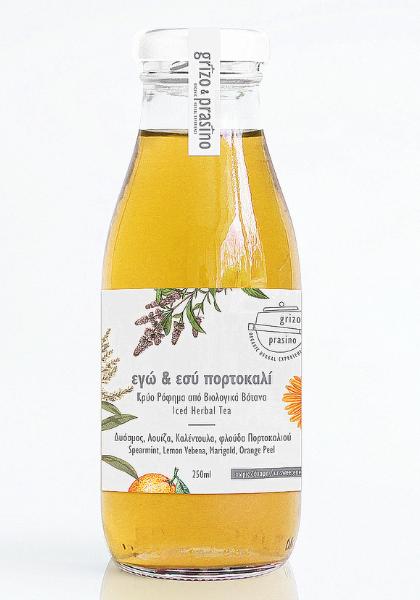 """Ένα γυάλινο μπουκάλι από κρύο βοτανικό ρόφημα """"εγώ & εσύ πορτοκαλί"""""""