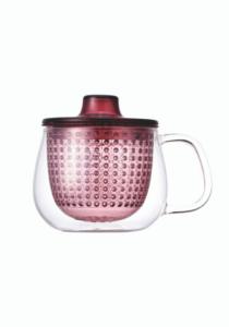 Κόκκινη κούπα unimug by kinto, γυάλινη διαφανής κούπα με κόκκινο πλαστικό φίλτρο για προετοιμασία τσαγιού, κόκκινη κούπα