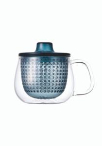 Μπλε κούπα unimug by kinto, γυάλινη διαφανής κούπα με μπλε πλαστικό φίλτρο για προετοιμασία τσαγιού, μπλε κούπα