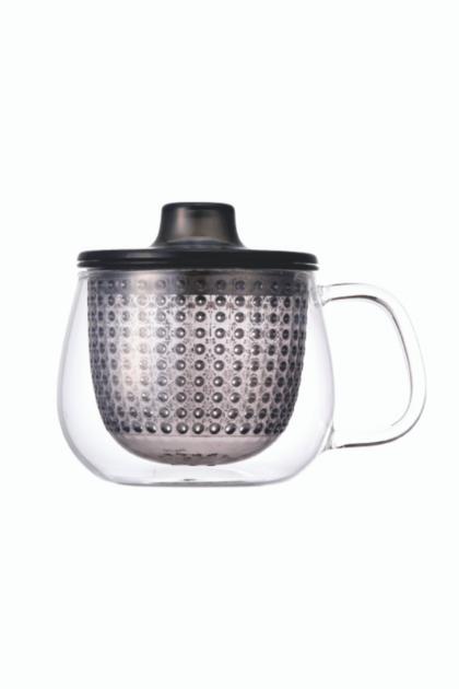 Γκρι κούπα unimug by kinto, γυάλινη διαφανής κούπα με γκρι πλαστικό φίλτρο για προετοιμασία τσαγιού, γκρι κούπα