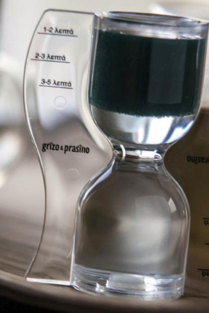 ΚΛεψύδρα για τσάι και βοτανικά ροφήματα, δείκτης λεπτών, επιγραφή grizo & prasino