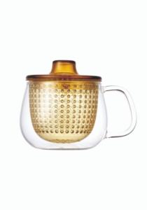 Κίτρινη κούπα unimug by kinto, γυάλινη διαφανής κούπα με κίτρινο πλαστικό φίλτρο για προετοιμασία τσαγιού, κίτρινη κούπα