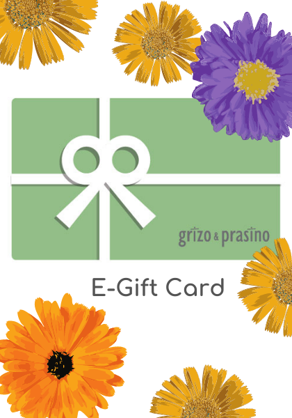 Gift card, gift box and flowers