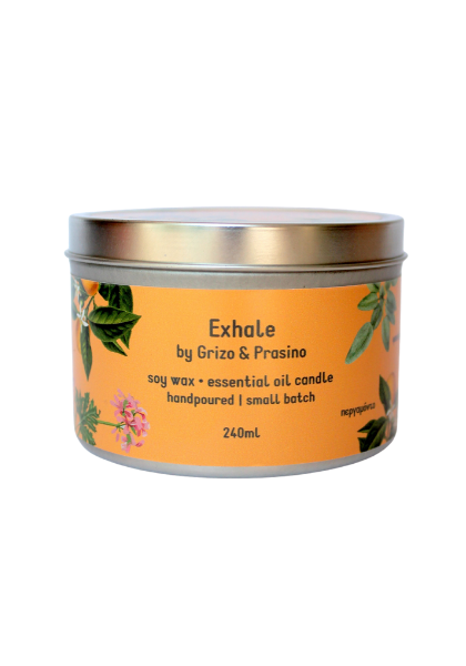 Pure soy candle with Exhale aroma.