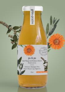 Μπουκάλι κρύο τσάι pu & pu και πίσω από αυτό φαίνονται τα βότανα καλέντουλα, φασκόμηλο και μέντα
