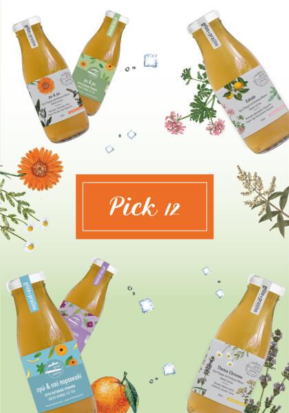 """Στη μέση της εικόνας γράφει """"pick 12"""" σε πορτοκαλίκ πλαίσιο ενώ τριγύρω υπάρχουν διάσπαρτα μπουκαλάκια με κρύο τσάι, βότανα και παγάκια. Το φόντο είναι λευκό και λαχανί, ντεγκραντέ."""