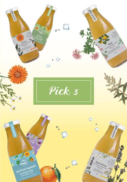 """Στη μέση της εικόνας γράφει """"pick 3"""" σε λαχανί πλαίσιο ενώ τριγύρω υπάρχουν διάσπαρτα μπουκαλάκια με κρύο τσάι, βότανα και παγάκια. Το φόντο είναι λευκό και κίτρινο, ντεγκραντέ."""
