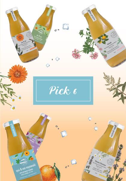 """Στη μέση της εικόνας γράφει """"pick 6"""" σε μπλε πλαίσιο ενώ τριγύρω υπάρχουν διάσπαρτα μπουκαλάκια με κρύο τσάι, βότανα και παγάκια. Το φόντο είναι λευκό και πορτοκαλί, ντεγκραντέ."""